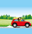 cheerful young woman in a red car vector image