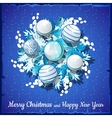 Christmas card on silver wreath with balls vector image vector image