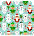 Christmas seamless pattern with characters blue vector image