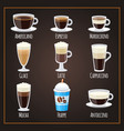 coffee types flat collection americano and vector image vector image