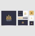 crown logo mono line logo design vector image vector image