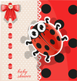 Delicate red baby shower card with cute cartoon vector image vector image