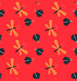 dragonfly and firefly seamless pattern vector image