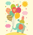 elephant turtle and parrot with balloons vector image