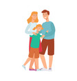 flat adult couple daughter kid hugging vector image vector image
