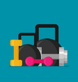 flat design of dumbells vector image