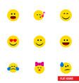 flat icon emoji set of descant cold sweat wonder vector image vector image