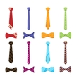 Flat neckties and bow ties icons vector image vector image
