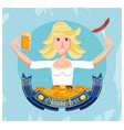 german woman with beer and sausage oktoberfest vector image
