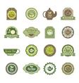 Green tea labels icons set vector image