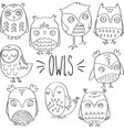 hand drawn outlined owls vector image vector image