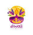 happy diwali logo design festival of lights label vector image vector image