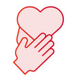 heart in hands flat icon care pink icons in vector image vector image