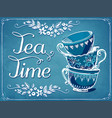 invitation to tea party retro tea time vector image vector image