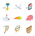 life success icons set isometric style vector image vector image