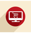 monitor with symbol shopping cart vector image