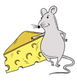 Mouse And Piece Of Cheese vector image