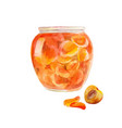 peach jam in the jar apricots cut in sweet syrup vector image vector image