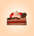 Piece of chocolate cake with cherry and cream vector image