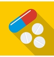 Pill and tablets icon flat style vector image