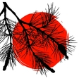 Pine tree branch and big red sun vector image