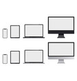 realistic set computer monitor laptop tablet vector image