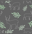 seamless pattern different deer and leaves vector image vector image