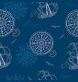 seamless sea background with ship and compass vector image