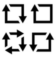 set icon repost recycling contours square vector image vector image