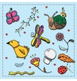 Set of doodles flora insects and birds vector image vector image