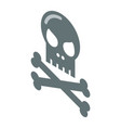 skull and bones icon isometric style vector image vector image