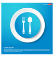 spoon and fork icon abstract blue web sticker vector image