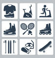 sports goods icons set sportswear stationary vector image