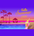 summer party near pool with tasty cocktails promo vector image vector image