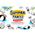 summer party with doodle icon and design on white vector image vector image