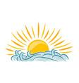 sun and sea symbol vector image vector image