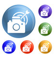 take photo target icons set vector image