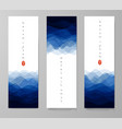 three banners with blue waves on white background vector image