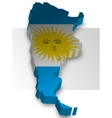 Three dimensional map of Argentina in flag colors vector image vector image