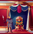 throne room ballroom with king guard vector image