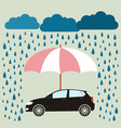 umbrella protecting car against rain flat style vector image vector image