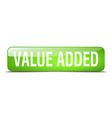 value added green square 3d realistic isolated web vector image vector image