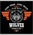 wolf biker and wings on dark background vector image vector image