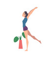 young woman doing morning workout indoor physical vector image