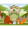 Zoo gate with animals 1 vector image vector image