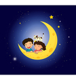 Children on the moon with a cat vector image
