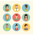 Faces avatars Flat style icons set vector image