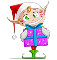 Christmas Elf Holding A Present vector image