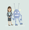 human and robot characters cooperation vector image