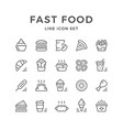 set line icons of fast food vector image